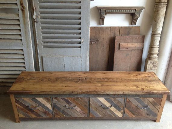 Reclaimed Pallet and Barn Wood 4 Drawer Mud Room Bench Entryway Storage Shoe Bin
