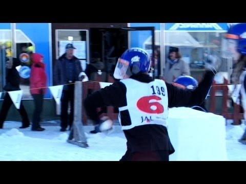 Kemijärvi Yukigassen snowball fight competition in Lapland, Finland