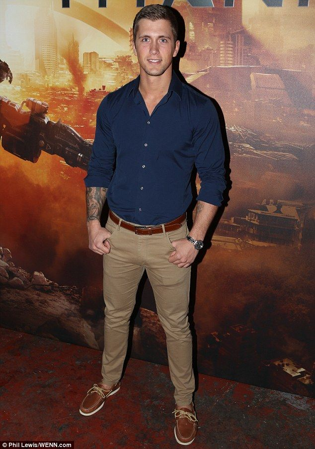 Hunky: Meanwhile new father Dan Osborne looked dapper in chinos and boat shoes