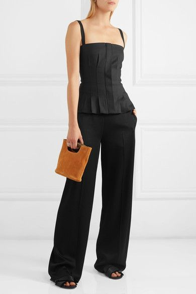 Barbara Casasola Pleated stretch-canvas top