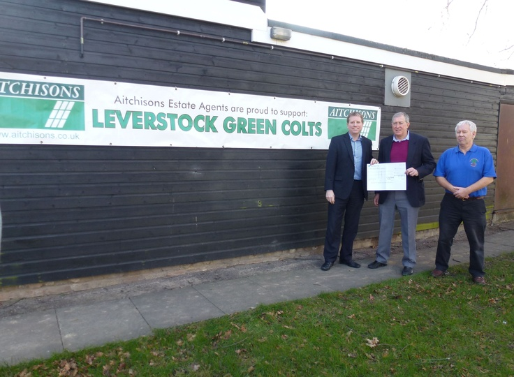 Andy presenting Brian Coulshed of Leverstock Green Cricket Club with our sponsorship cheque ready for the new season