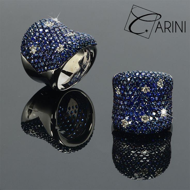 Curato nei particolari, mostra la sua eleganza con un pavè di zaffiri e diamanti bianchi a spot #pavè #zaffiri #diamanti #bianchi #anello #eleganza