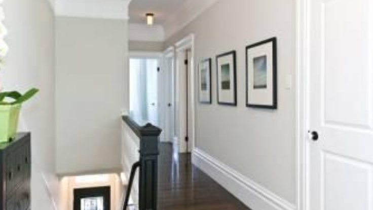 Dark Wood Floor Light Grey Walls White Trim Master