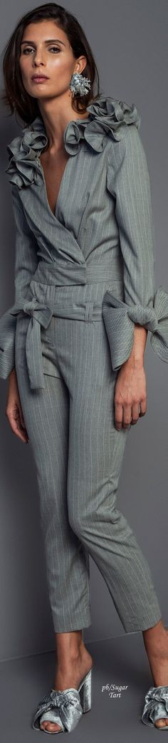 @roressclothes clothing ideas #women fashion gray jumpsuit Johanna Ortiz - Fall 2017