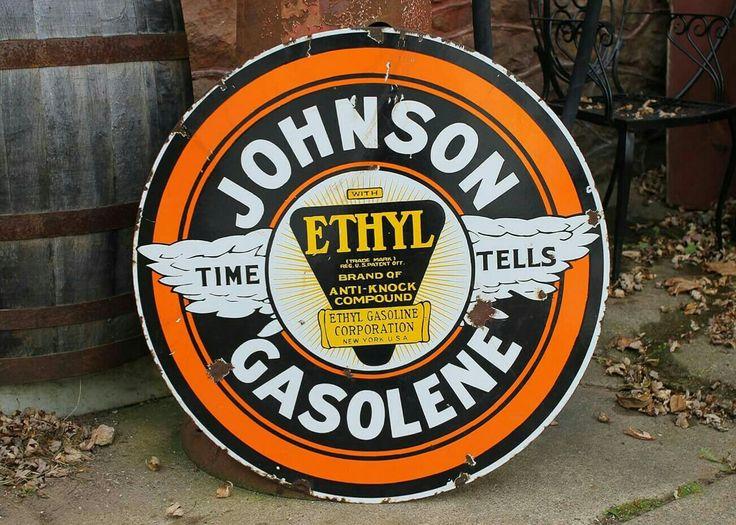 Rare Johnson Ethyl Gasoline Porcelain Sign