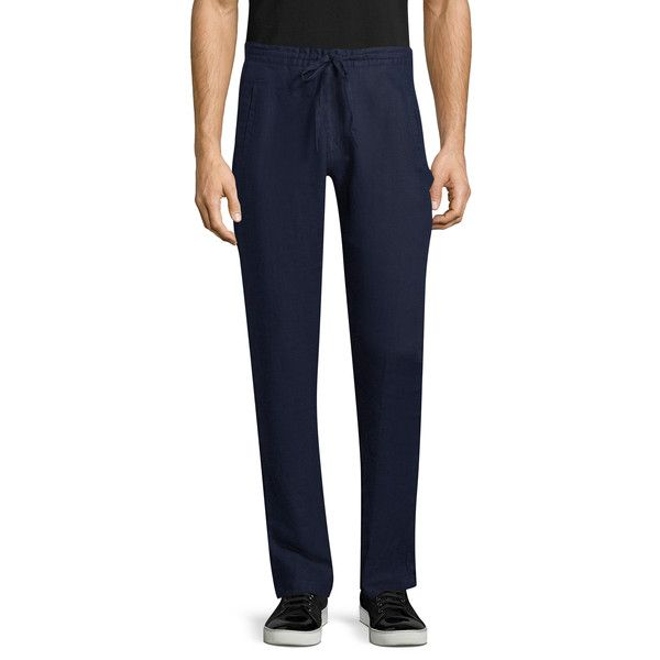 Saks Fifth Avenue Men's LINEN DRAWSTRING PANT - Dark Blue/Navy, Size... ($39) ❤ liked on Polyvore featuring men's fashion, men's clothing, men's pants, men's casual pants, mens linen pants, mens pants, mens navy blue pants, mens casual linen pants and mens woven pants