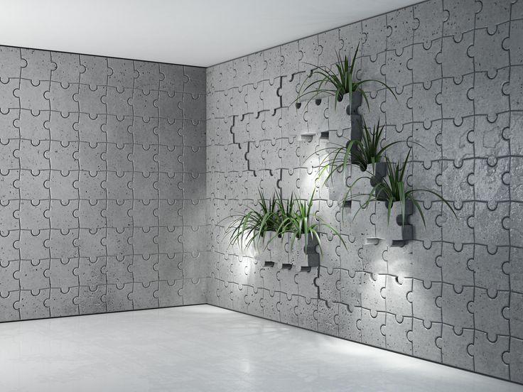 Aranżacja ściany z Puzzli wykonanych z betonu architektonicznego. Firma Bettoni proponuje różne rozwiązania z wykorzystaniem betonu architektonicznego. Wyjątkowość płyt 3D Puzzle świadczy o pomysłowości jej autorów.