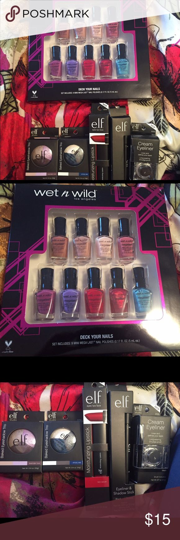 Makeup bundle Wet n Wild nail polish set: comes with 9 mini nail polishes. 2 Elf eye shadow trio: lavender love and smokey sea. 1 Elf moisturizing lipstick: red carpet. 1 Elf eyeliner & shadow stick. 1 Elf cream eyeliner. All brand new and unopened! ELF Makeup