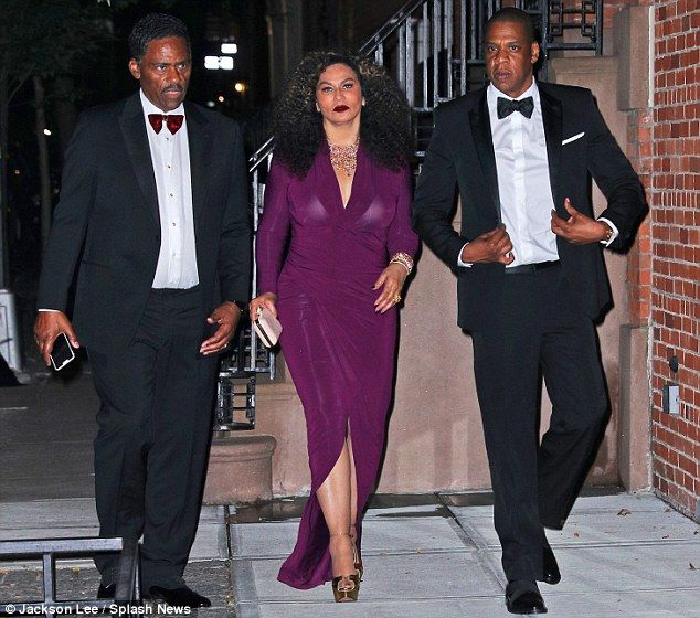 Family first: Tina Knowles, her husband Richard Lawson and son-in-law Jay-Z supported Beyo...