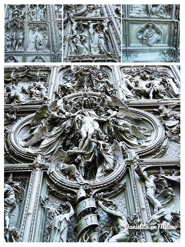 Detalles de la puerta del Duomo di Milano en Milano, Lombardia