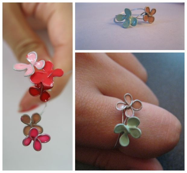 Fun Crafts To Do With Nail Polish | Best Nail Polish Crafts | DIY Projects and Arts and Crafts Ideas Using Nail Polish | Stained Flower Ring http://www.thrillbites.com/amazing-nail-polish-craft-ideas
