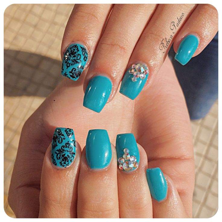 Turquoise Blue Acrylic Nails (Stamping nail art and Crystal Swarovski)
