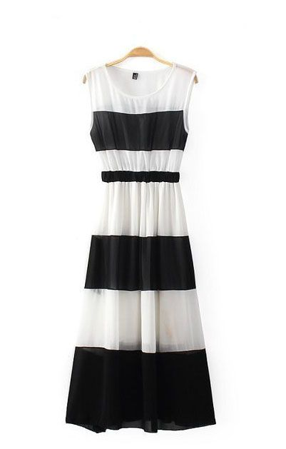 Color Block Pleating Hem Sleeveless Chiffon Dress I love the stripes and style