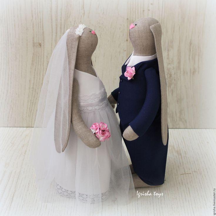 Купить Свадебные зайцы - свадьба, свадебная пара, свадебные зайцы, заяц, зайка, зайки