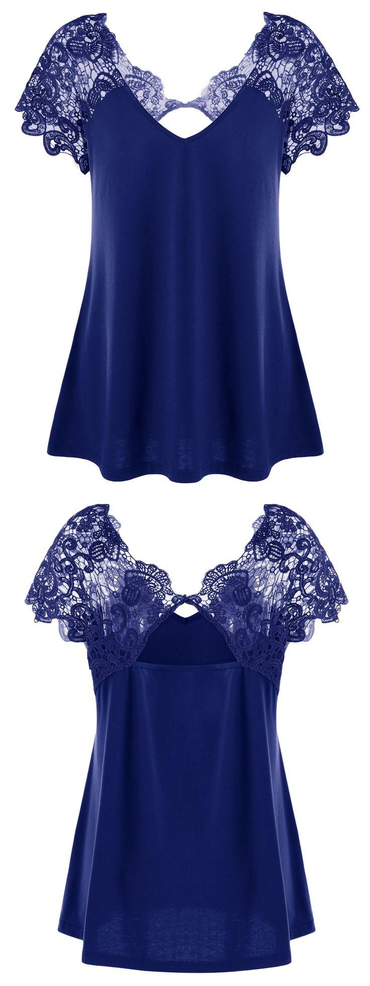 $12.29 Plus Size Cutwork Lace Trim T-Shirt - Deep Blue