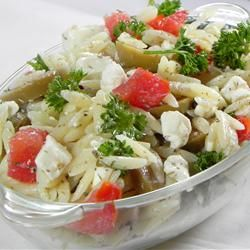 """Orzo and Tomato Salad with Feta Cheese   """"A cold pasta salad with orzo, green olives, feta cheese, parsley, dill, tomato, olive oil, and lemon juice. If you don't have fresh herbs, use dried, but be sure to use more to make up the difference in flavor."""""""