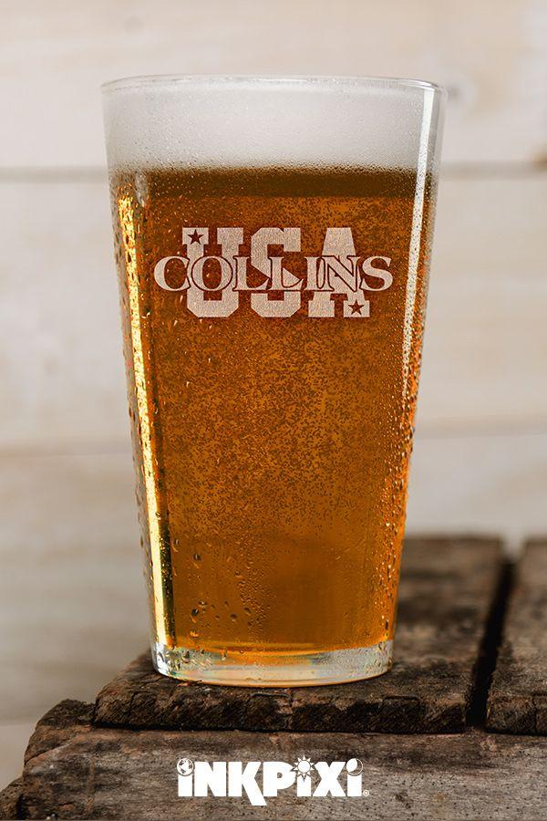 Usa Clear Pint Glass Engraved Single Pint Glass Custom Pint
