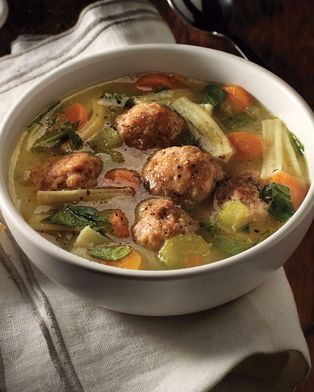 Homemade Chicken Meatball Noodle Soup #recipe.