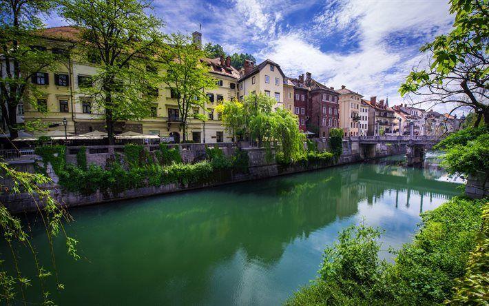Scarica sfondi Lubiana, estate, ponte, casa, Slovenia