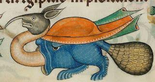Hybrid from The Luttrell Psalter, 14th century.   (London, British Library, Add. 42130, f. 188v)   Manuscrito completo y descripción: http://www.bl.uk/manuscripts/FullDisplay.aspx?ref=Add_MS_42130  Origen: http://groteskology.blogspot.com.es/2013_09_01_archive.html