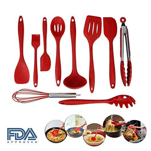 10 Pieces Red Silicone Kitchen Cooking Utensils Set Nontoxic Nonstick by SkySea * You can get additional details at the image link.