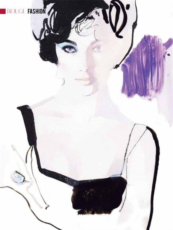 Portrait of Elizabeth Taylor by David Downton