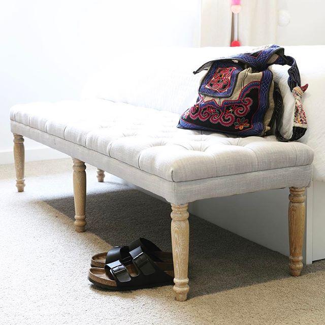 Monday Home Time, Happy Days! #monday #hometime #bedroom #bench #seat #juliet #dressingbench #birkenstock #rest #bedroomdecor #interior #boho #style #lovemyblackmango