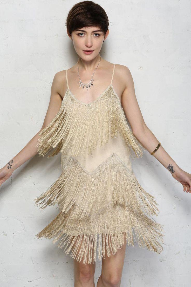 Gold Fringed Flapper Dress Gold Tassel Dress On Pinterest