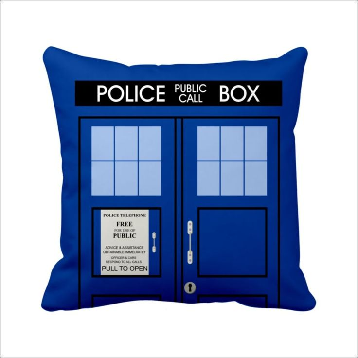 14 Satin Hold Cushion Cover Doctor Who Tardis Police Box Dr Who Pillow Case Part 79