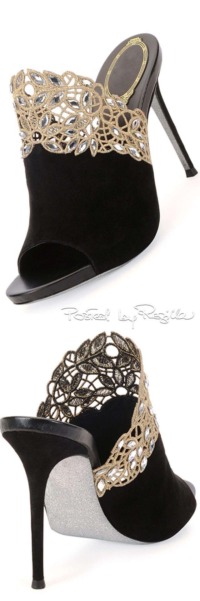 René Caovilla ~ Black Suede Mule w Gold Lace Detail 2015