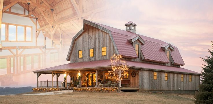 Gambrel Barn Home by Sand Creek Post and Beam. An incredible barn house with a pink(ish) roof and an awe-inspiring setting. This takes my breath away!