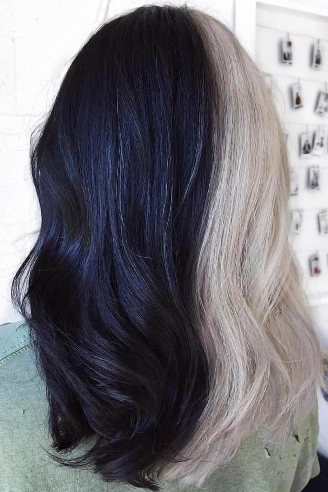 Black Blonde Half And Half Hair Halfandhalfhair Splithair The Half And H Black Blonde Hair Halfandhalf In 2020 Half And Half Hair Split Dyed Hair Dyed Hair