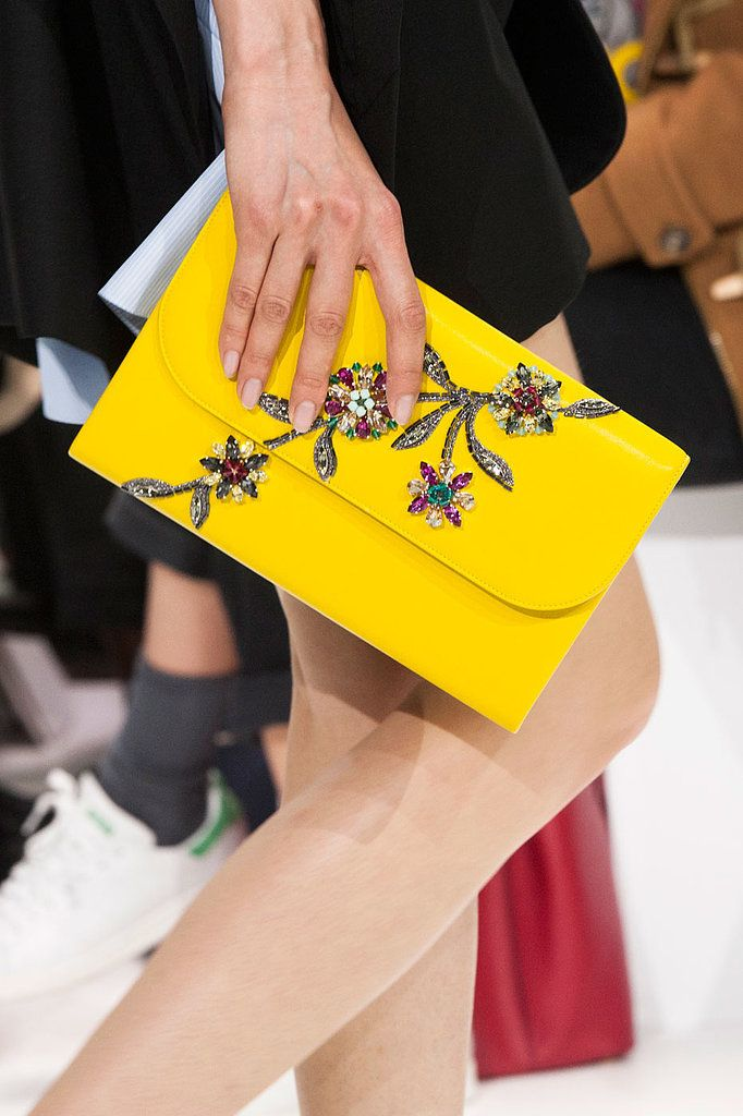 A jeweled yellow clutch at Christian Dior Fall 2014 - Best Runway Bags Paris Fashion Week Bags #PFW