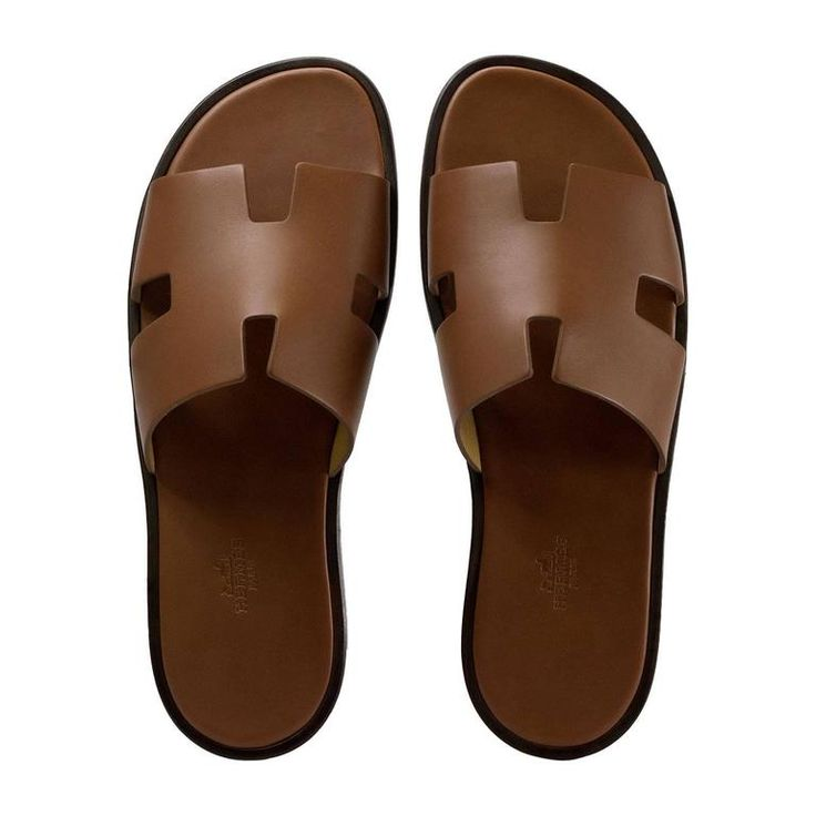 Hermes Men Sandals Izmir Veau Leather Gold Color 42 Size 2017 | 1stdibs.com