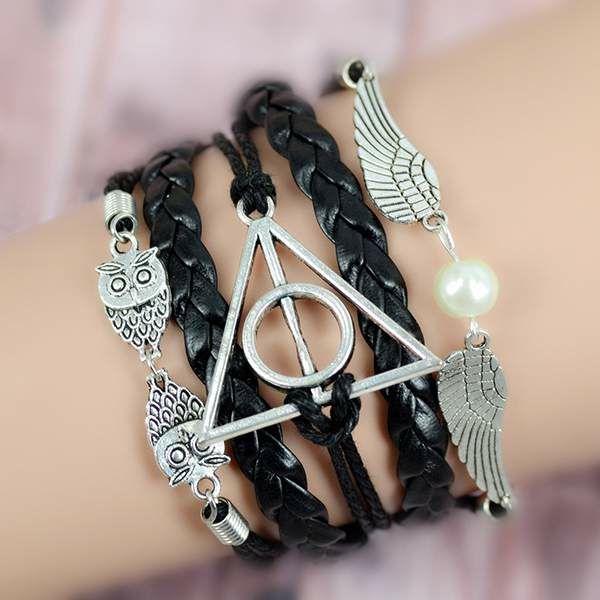 HANDMADE HARRY POTTER VINTAGE LEATHER BRACELET #harrypotter #dedlyhallows #goldensnitch #harrypotterbracelet #whitepearlstore #owl #jewelry #jewelery #bracelet