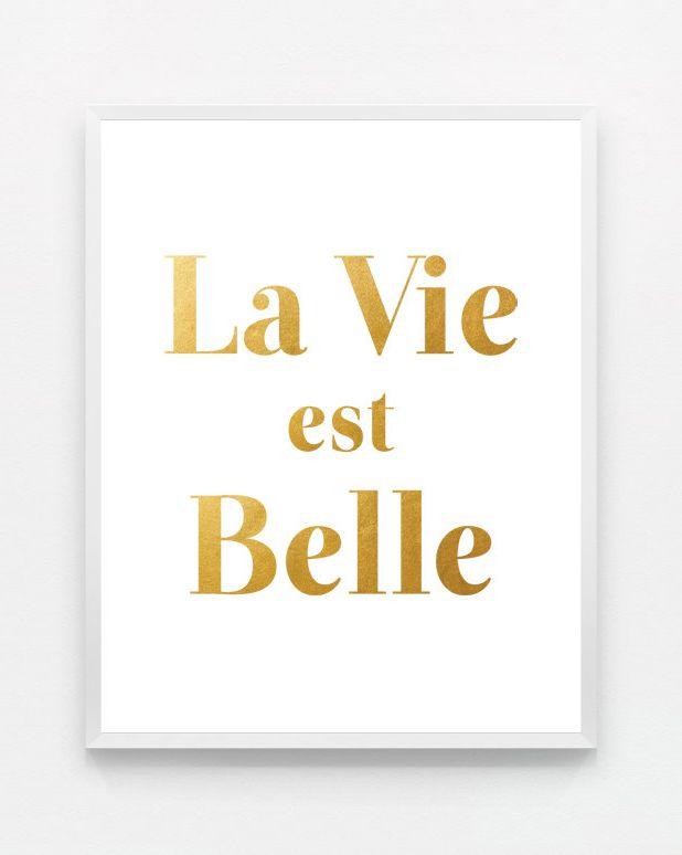 Gold La Vie Est Belle Life is Beautiful Modern Wall