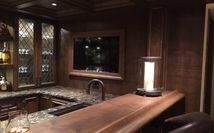 Alderwood bar with Cambria countertop - Laneshaw with Chiselled edge