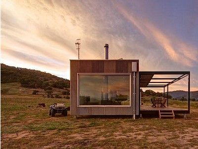 Minimalist off-grid modular cabin is designed to disappear into the landscape