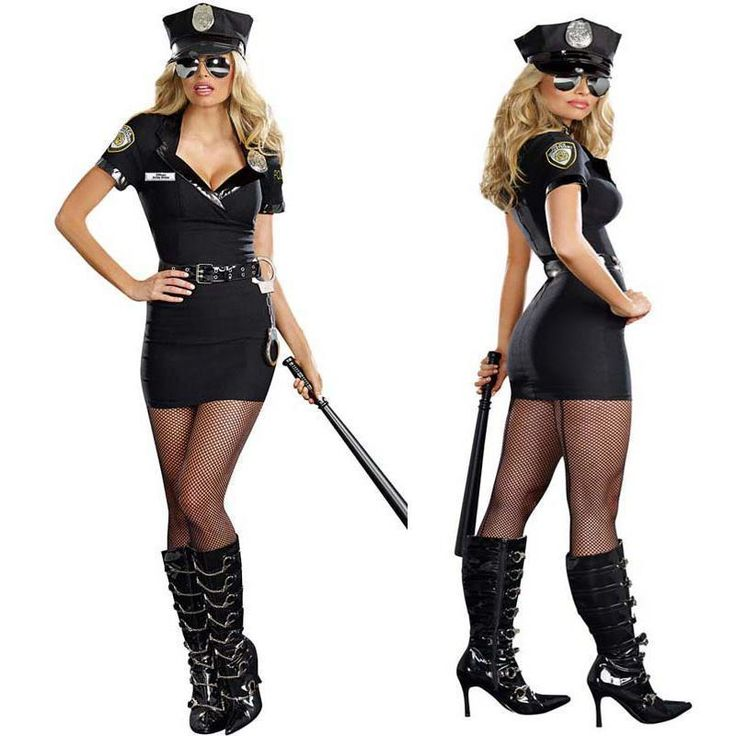 Policewoman Costume carnival Party cosplay Police fantasia halloween costumes for women dress Five-pieces included baton