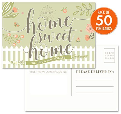 "Moving Announcement Postcards - Pack of 50 Home Sweet Home 4.25"" x 6"" Postcards. Qualifies for First Class Postcard Postage Rates.  ANNOUNCE YOUR NEW ADDRESS IN STYLE! Fill in the blank postcard style announcement cards with ample space to write, label or stamp your new address.  DESIGNED AND MADE IN THE USA: Inviting design with calligraphy and warm floral elements. Postcard style, no envelopes necessary.  PREMIUM CARD STOCK: Our cards are printed on high quality, premium, heavy card ..."