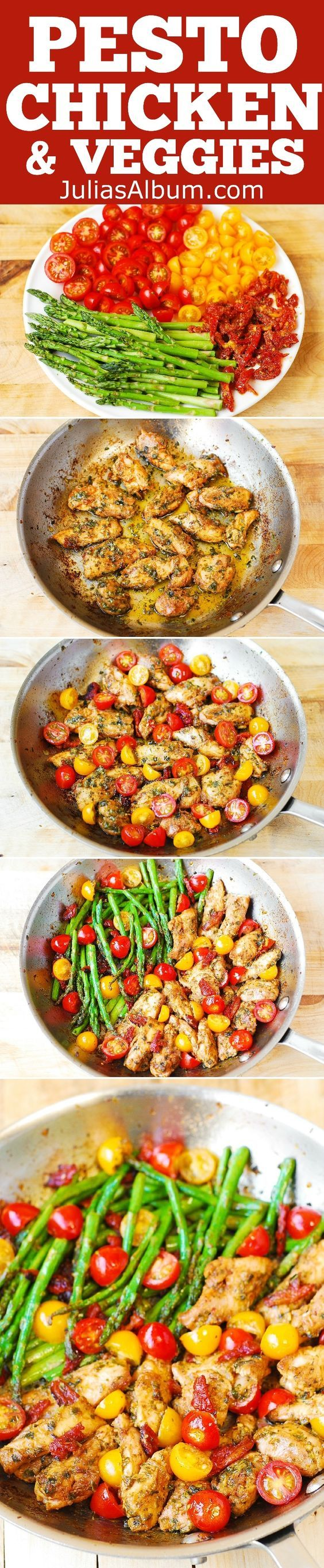 OnePan Pesto Chicken and Veggies – sundried tomatoes asparagus cherry tomatoes. Healthy gluten free Mediterranean style recipe packed with fiber (vegetables) and protein (chicken). Easy 30 minute recipe.