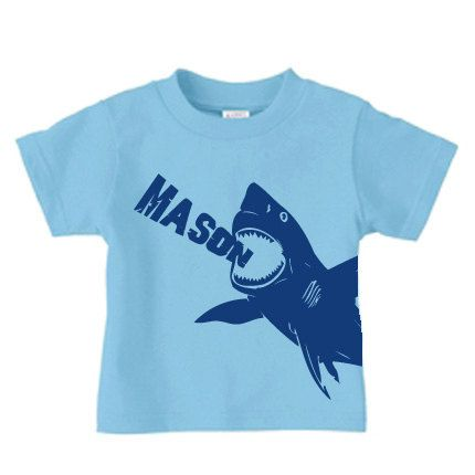 Personalized shark t-shirt for boys, shark birthday t shirt for kids. $16.00, via Etsy.
