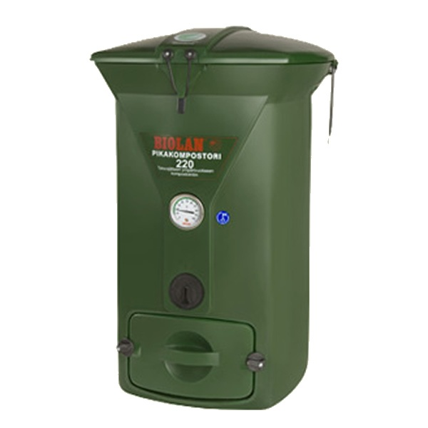 The Biolan 220 Green Composter is an efficient, thermally insulated composter for year-round composting of domestic organic waste. The patented ventilation system of the composter supplies air through air pipes directly to the middle of the compost mass enhancing composting and diminishing the need to toss the compost. The adjustable air vent and the compost thermometer facilitate monitoring and attending to the compost especially in winter.