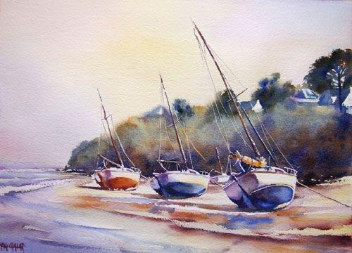 Pas à pas voiliers bretagne (accessible) - Aquarelle Marichalar Watercolor