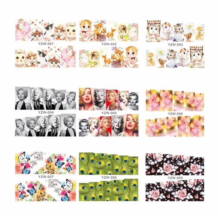 ZKO 1 Sayfalık Tüy Kedi Çiçek Desen Su Transferi Nail Sticker Çıkartmaları DIY Sanat Tırnak Dekorasyon