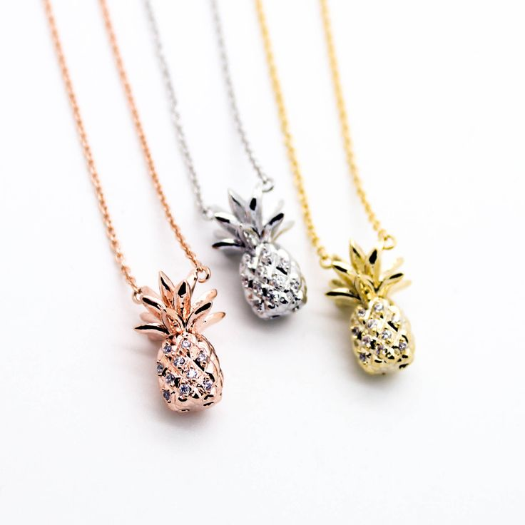 """- Yellow Gold / Silver / Rose GoldPlated - Cubic Zirconia details - Pendant measures about 3/8"""" x 5/8"""" - Length about 17"""""""