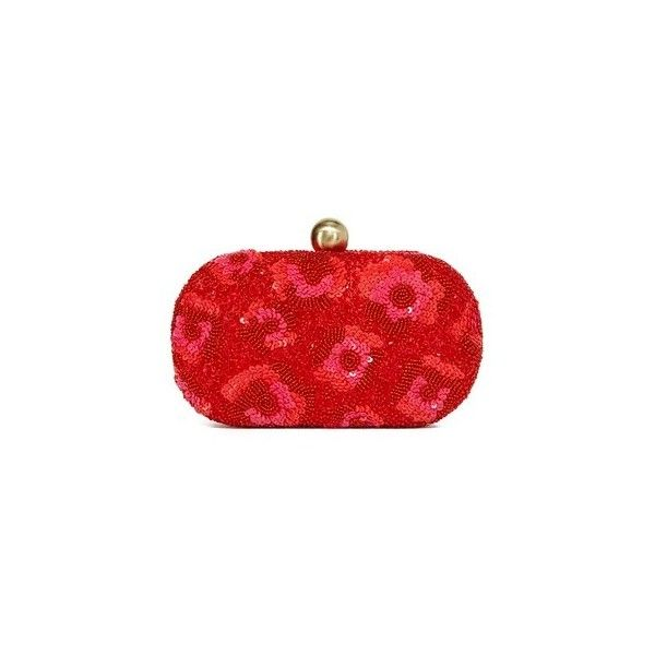 Santi Sequin Embellished Clutch (€175) ❤ liked on Polyvore featuring bags, handbags, clutches, red, beaded purse, floral handbags, kiss lock handbags, sequin handbags and red handbags