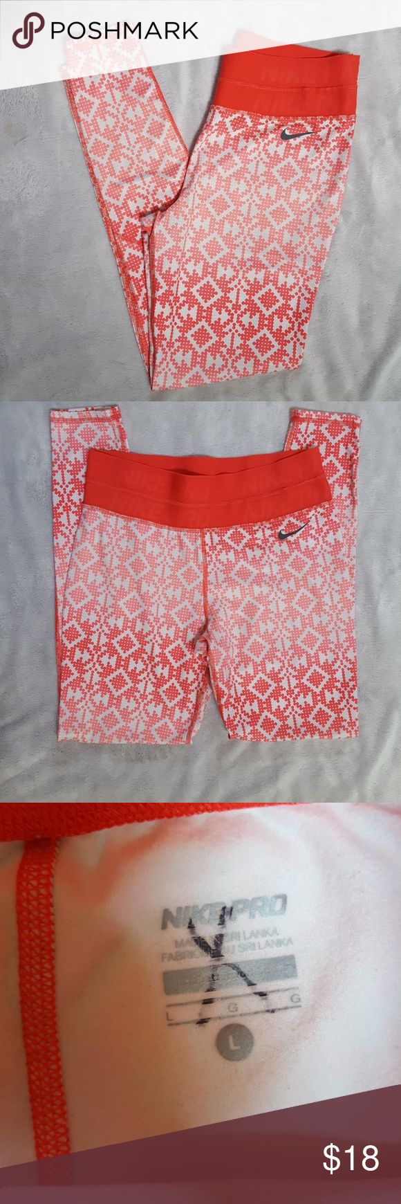 Women's Nike Pro workout pants Super cute Nike workout pants. Great hombre pattern. Excellent condition with one small spot on the back. You really have to look for it. Nike Pants