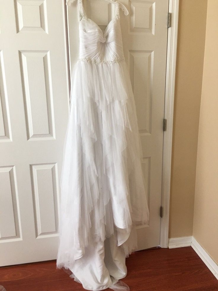Beaded/Tulle Alfred Angelo Wedding Dress, White, Unworn, Unaltered Size 6