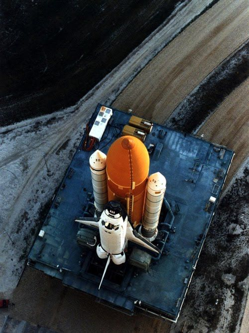 Space shuttle awaits launch.